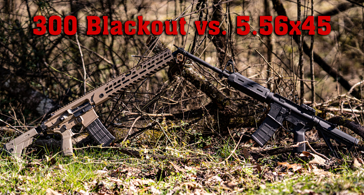300 Blackout vs 5.56 rifle on display