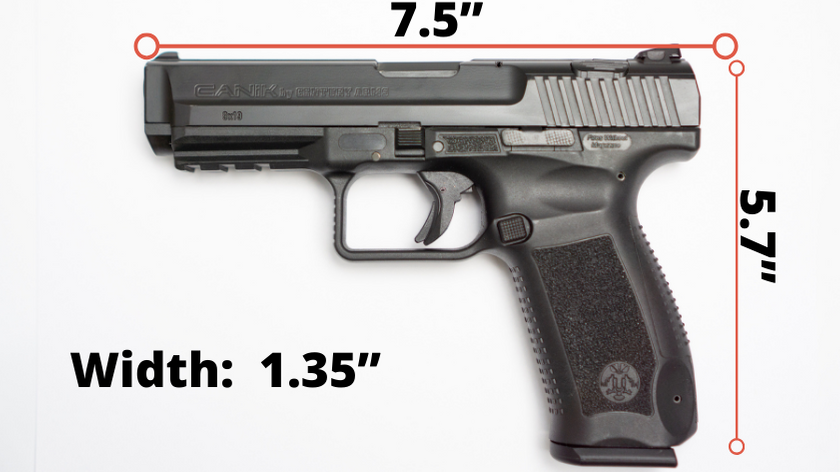"Canik TP9 pistol with dimensions (7.5 inch length, 5.7"" inch height and 1.35"" width)"