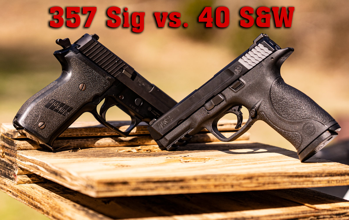 40 SW and 357 Sig pistols on a bench