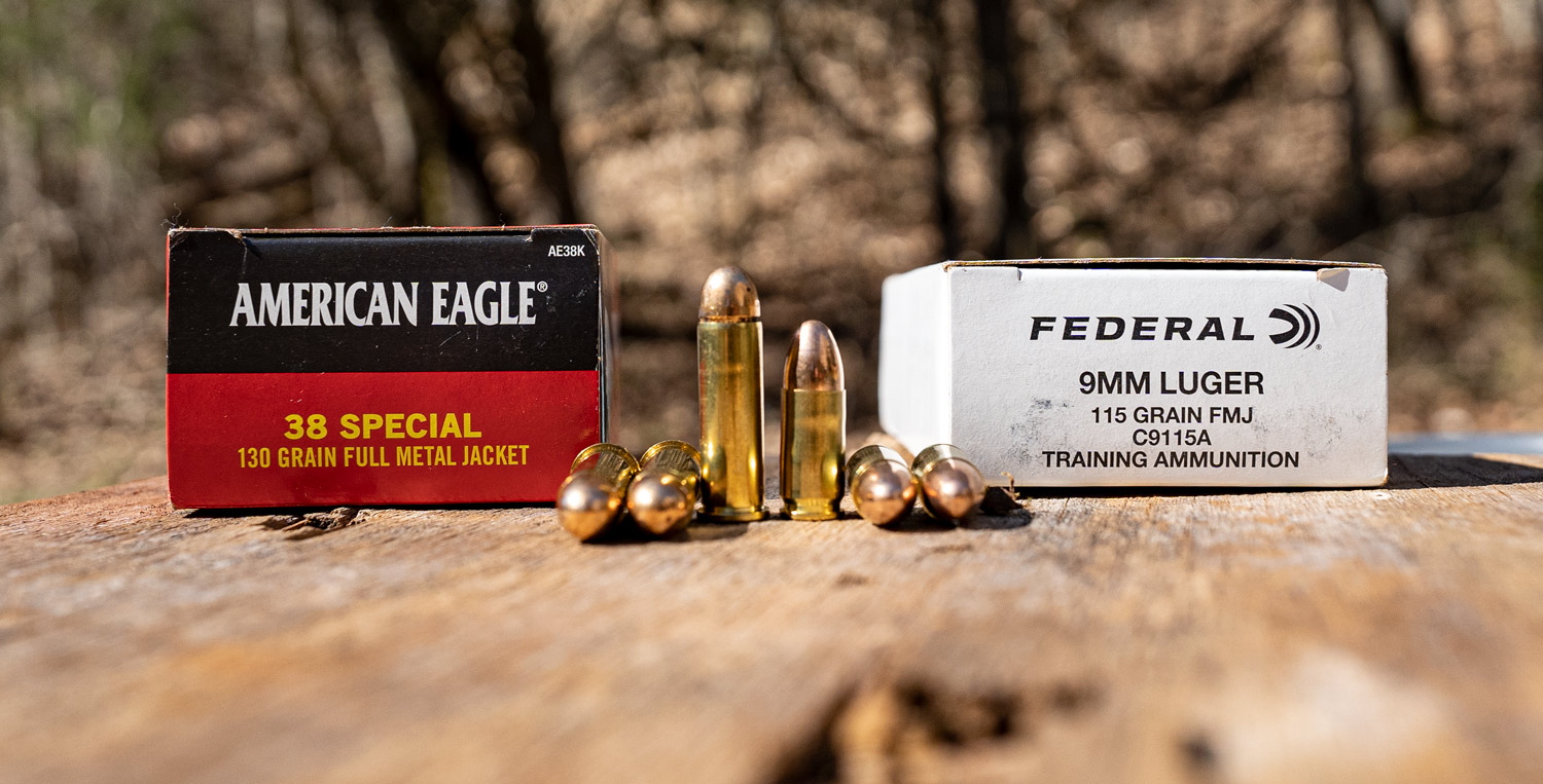 38 special ammo next to Federal 9mm ammo at a shooting range