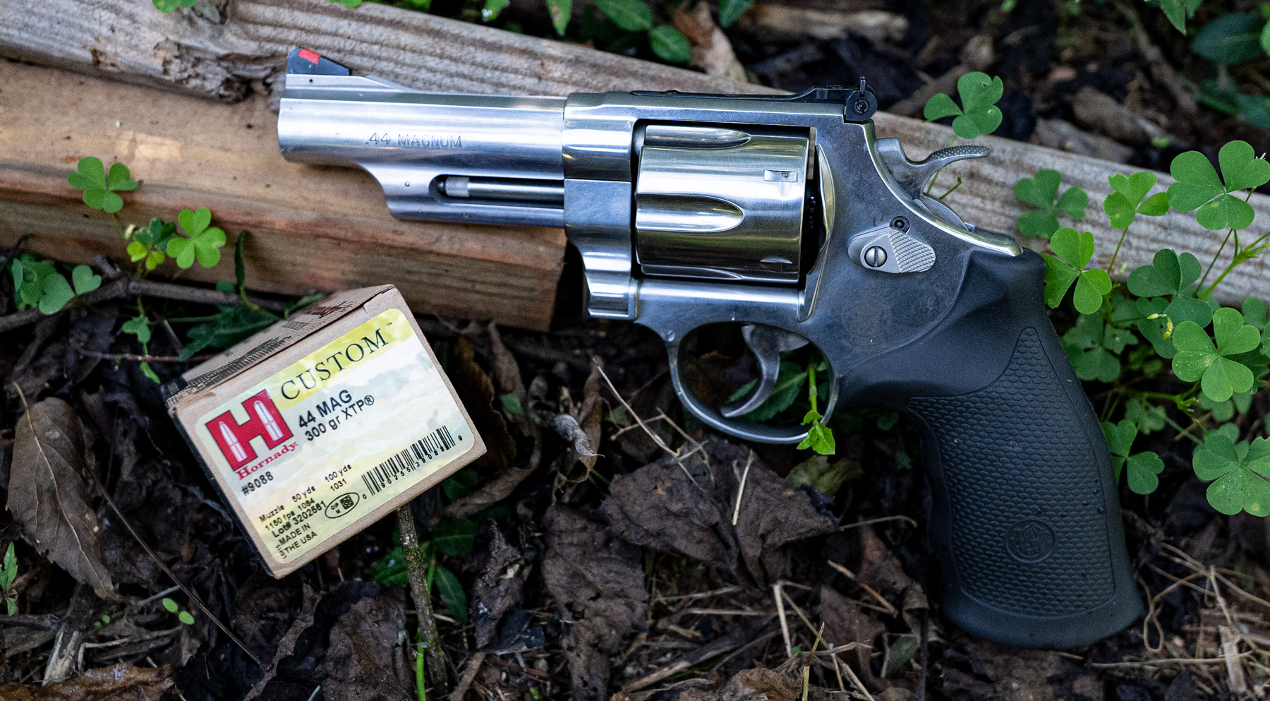 A Smith & Wesson 44 magnum revolver with Hornady ammunition