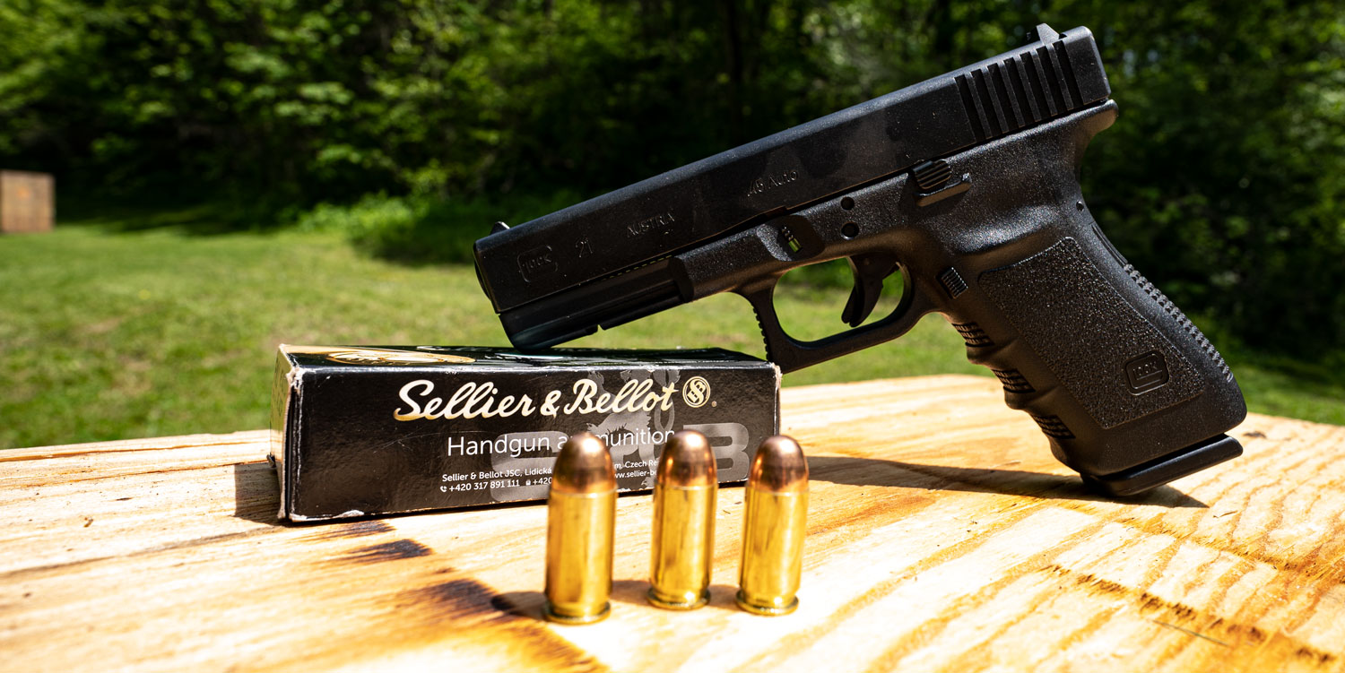 45 ACP Glock with ammunition at the shooting range