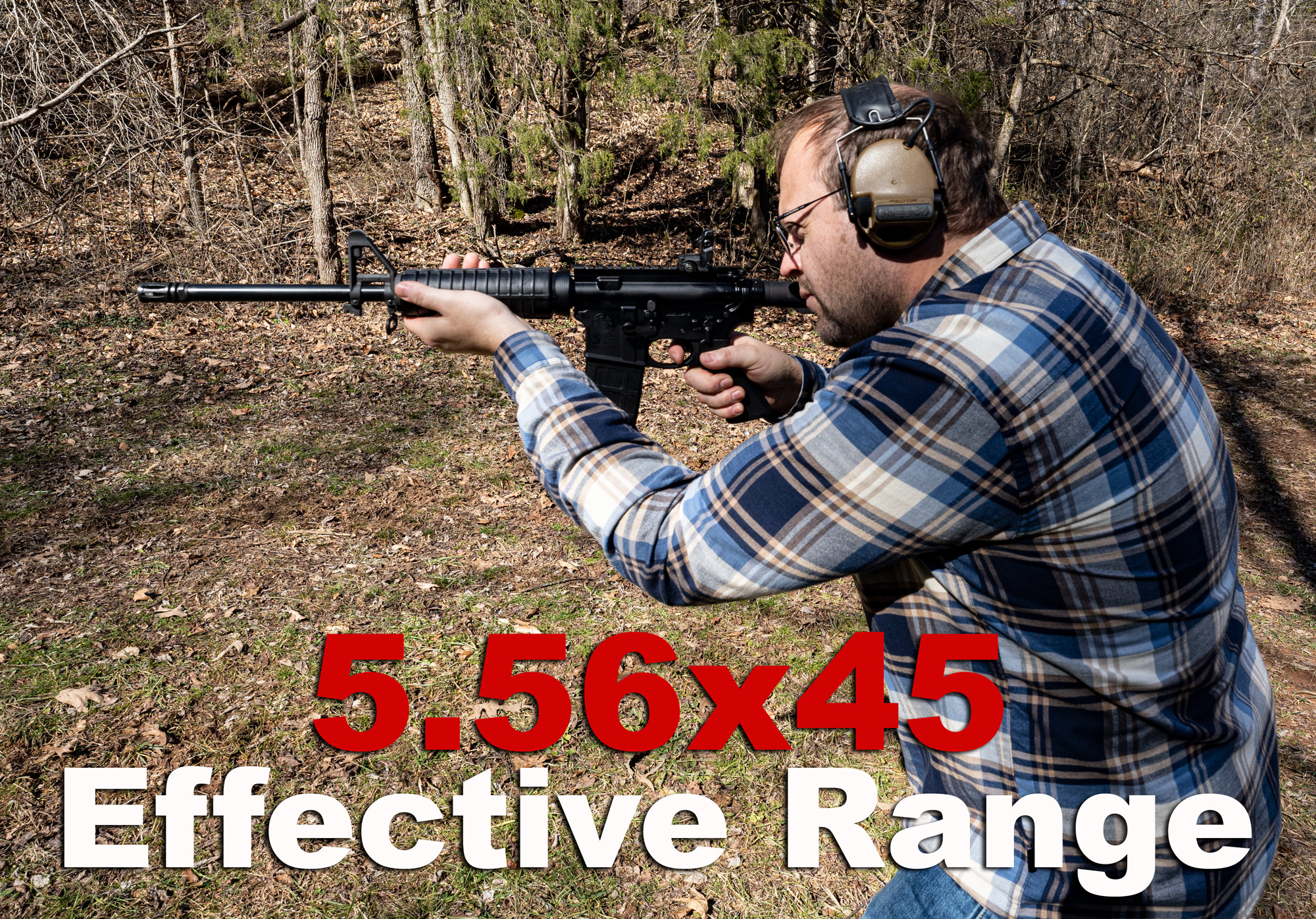 An AR-15 shooter testing the effective range of 5.56 at a shooting range