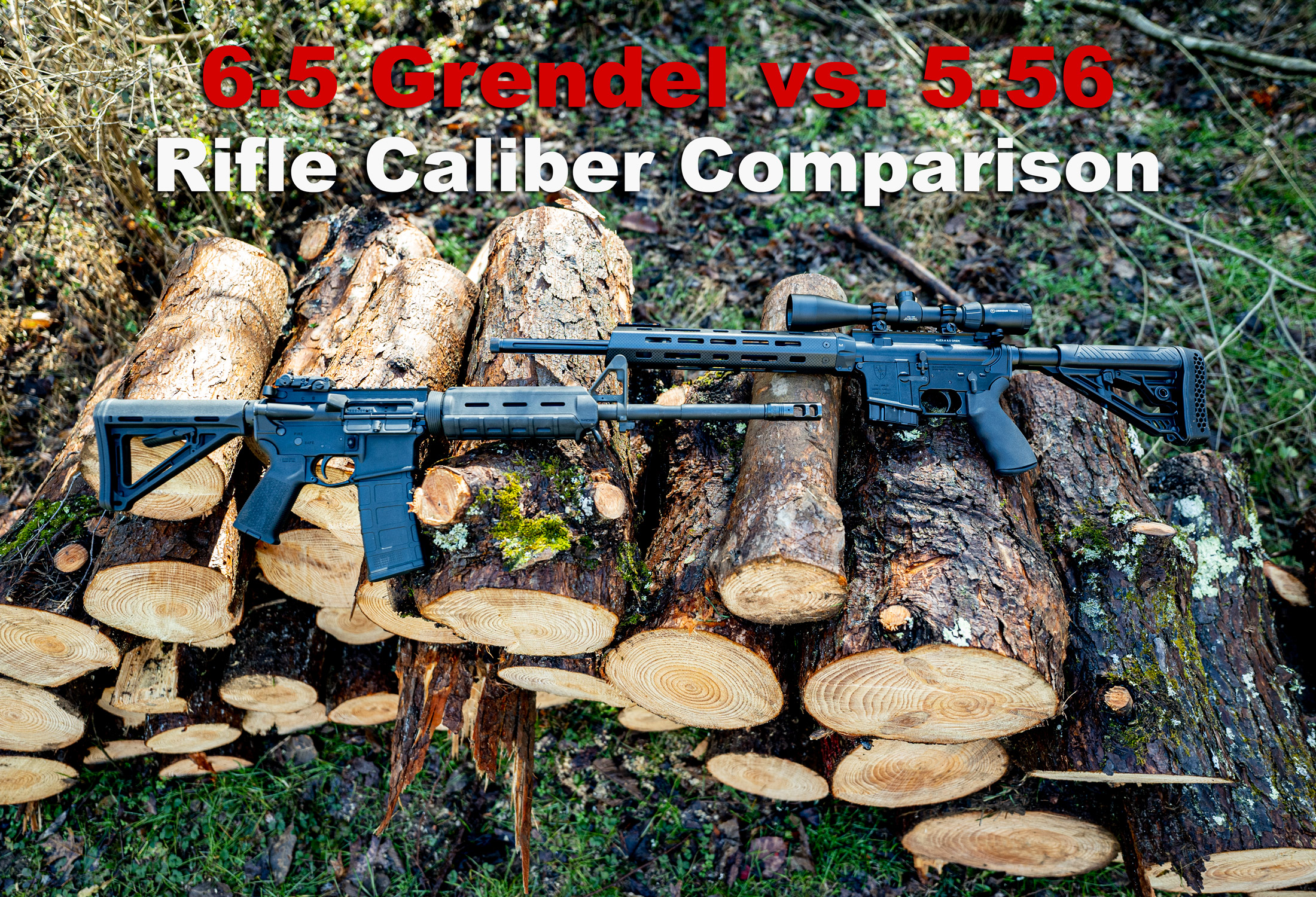 6.5 grendel vs 5.56 rifles side by side at a shooting range