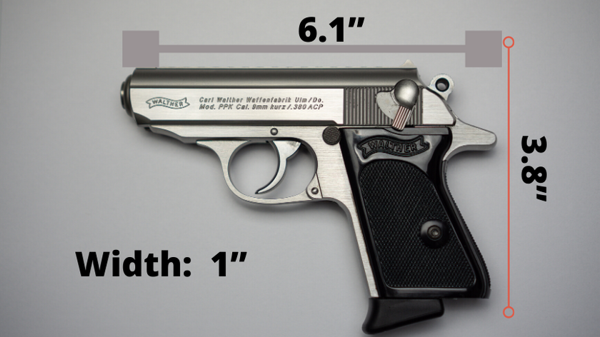 Walther PPK Size Graphic with measurements of the pistol