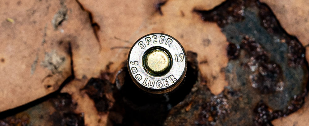 The headstamp on a round of 9mm Luger ammo