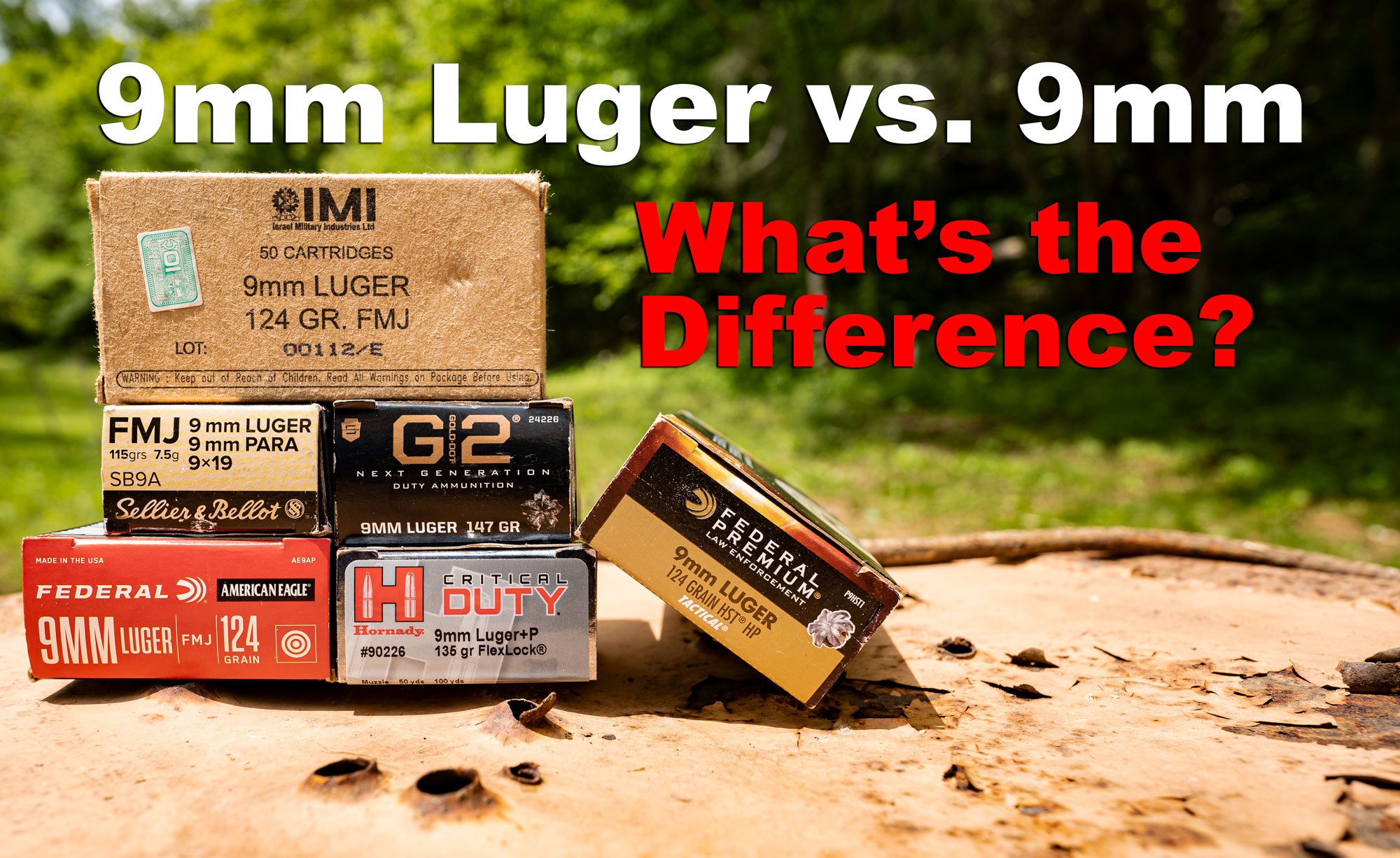 9mm vs 9mm Luger ammo boxes on a table at the shooting range