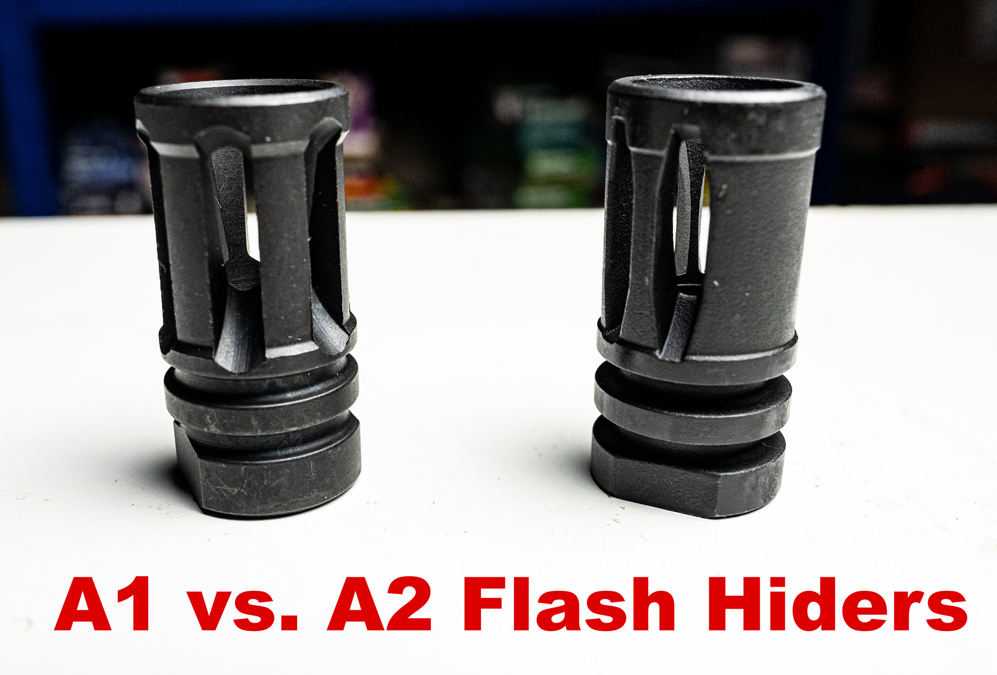 A1 and A2 flash hiders side by side