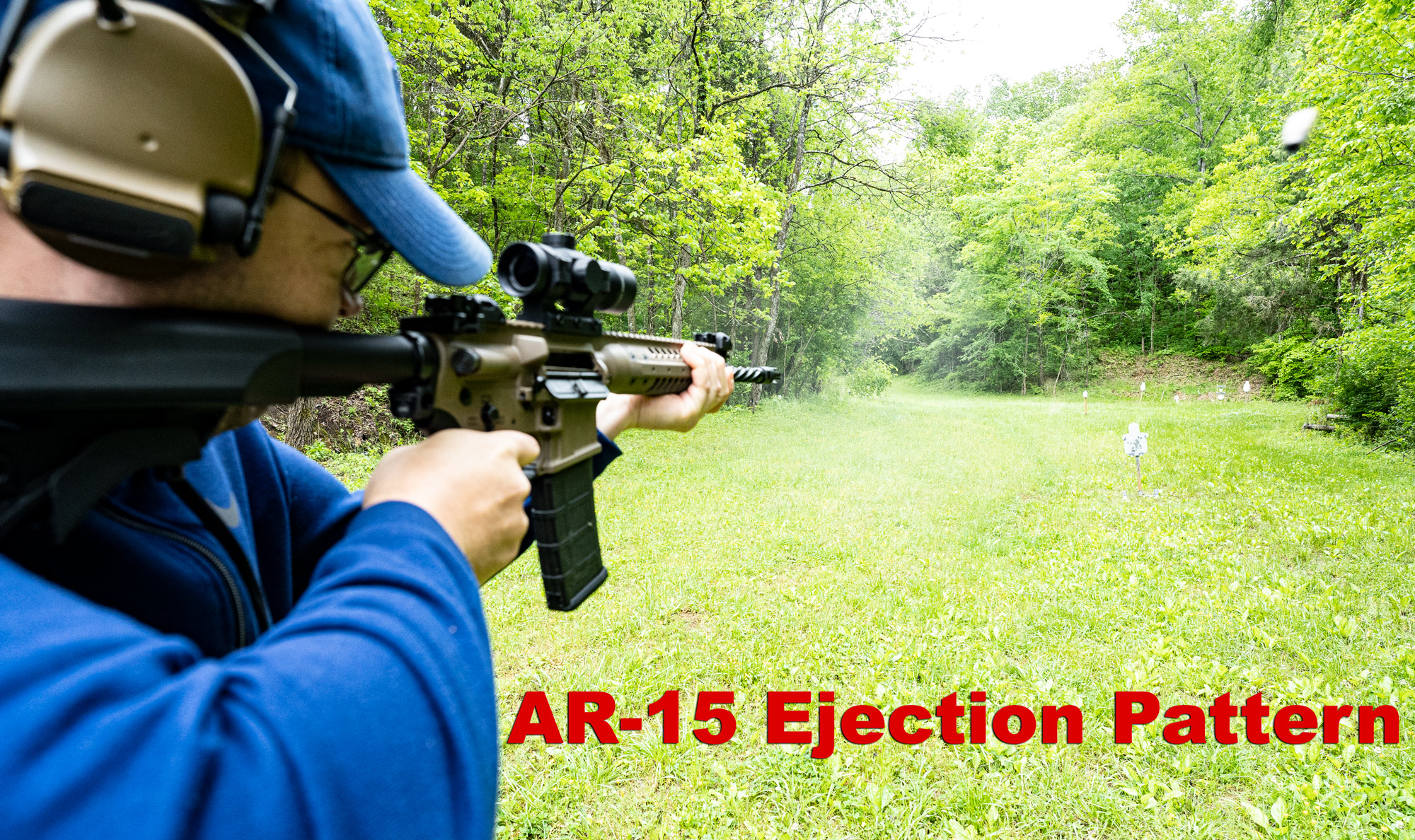 Shooting an AR-15 at the range and ejecting spent casings