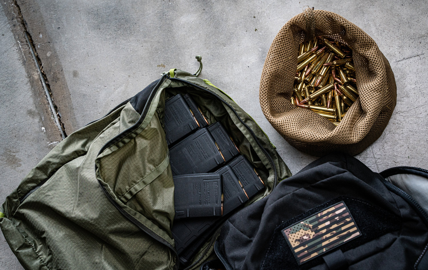 bags loaded up with 223 ammo for a soldier