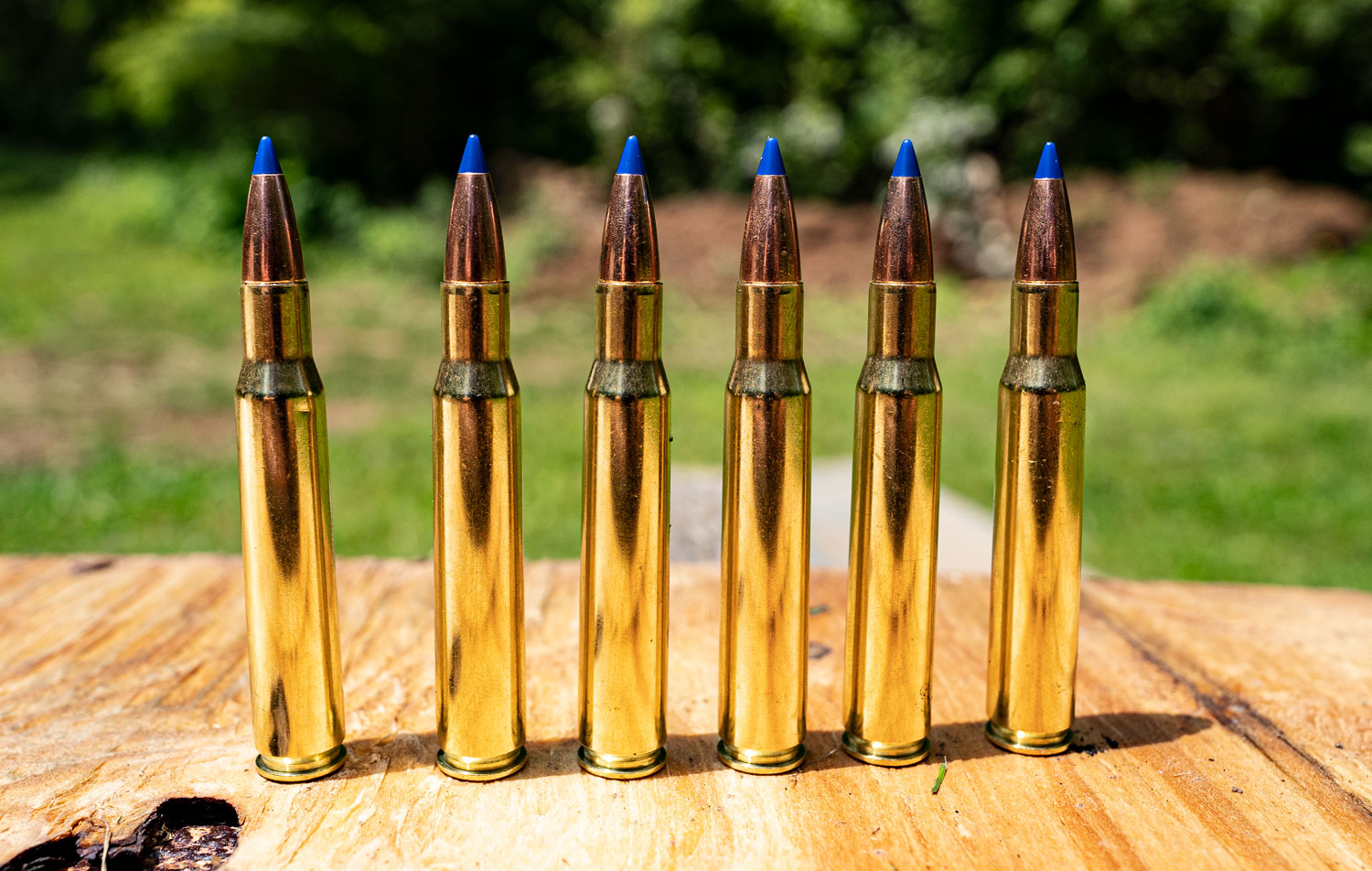 Barnes VOR-TX ammo cartridges lined up at a shooting range