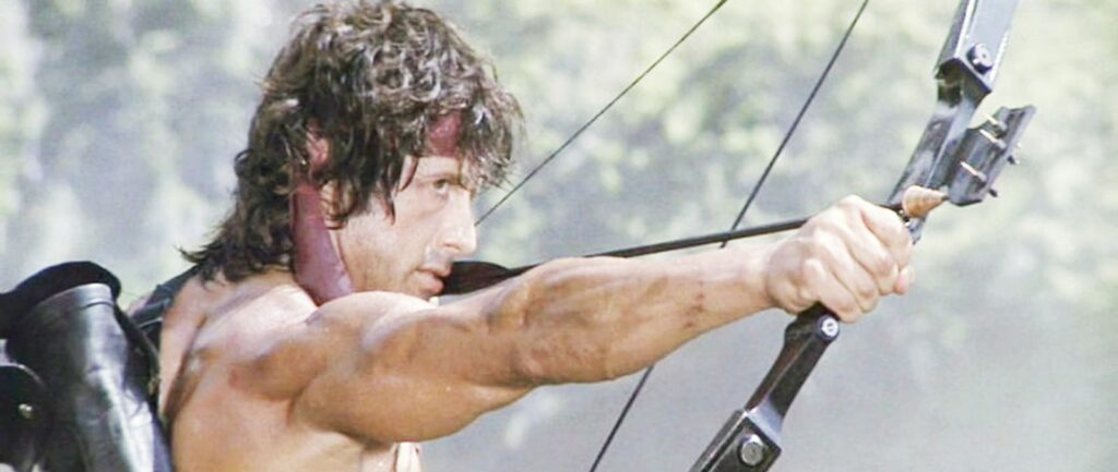 Rambo with a compound bow, which is not a gun at all