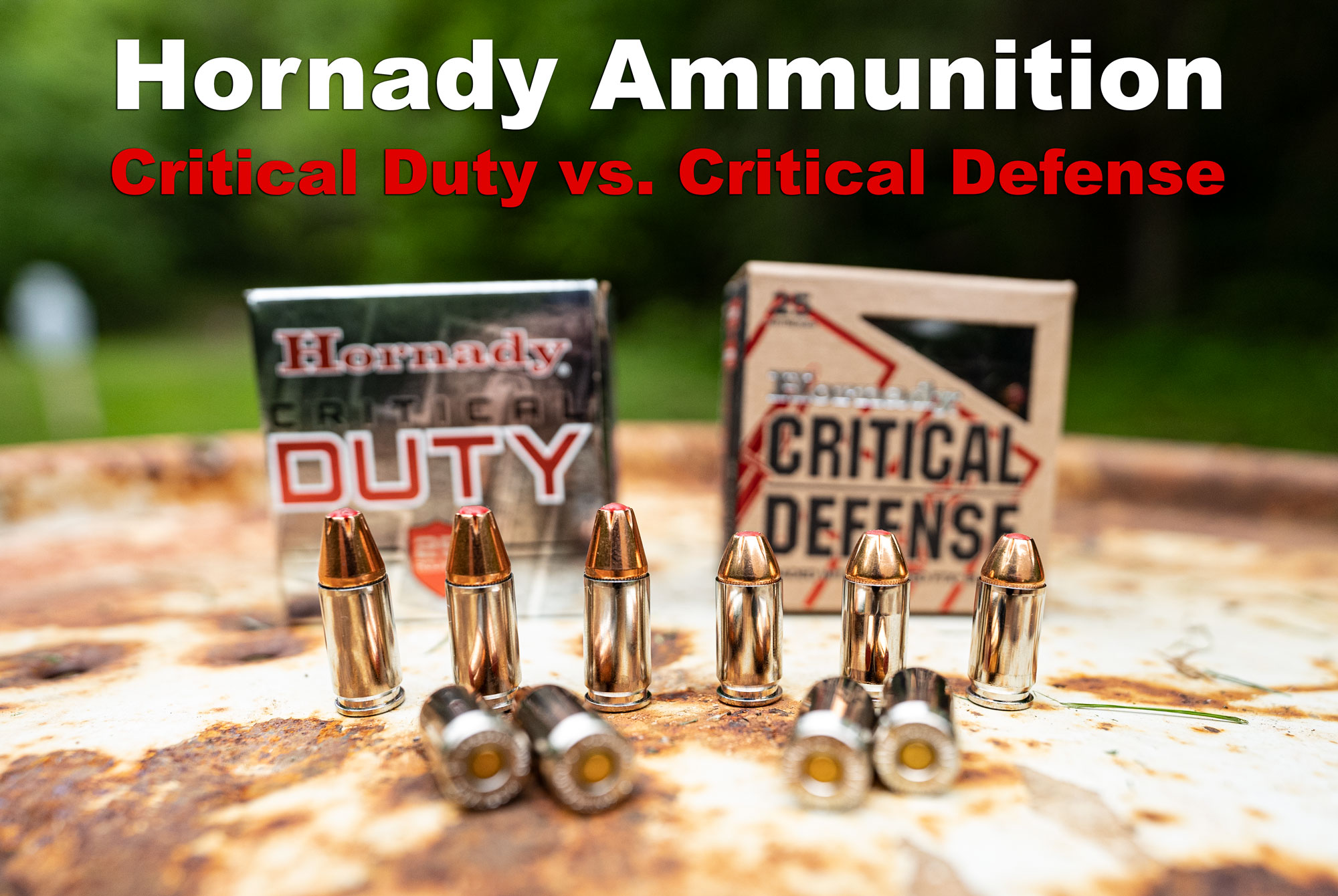 Critical Duty vs Critical Defense ammunition on a table at the range