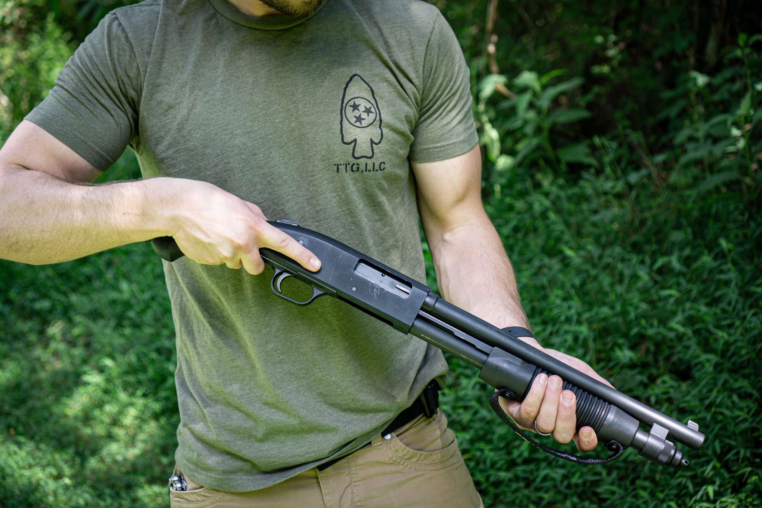 The author holding the Mossberg Shockwave