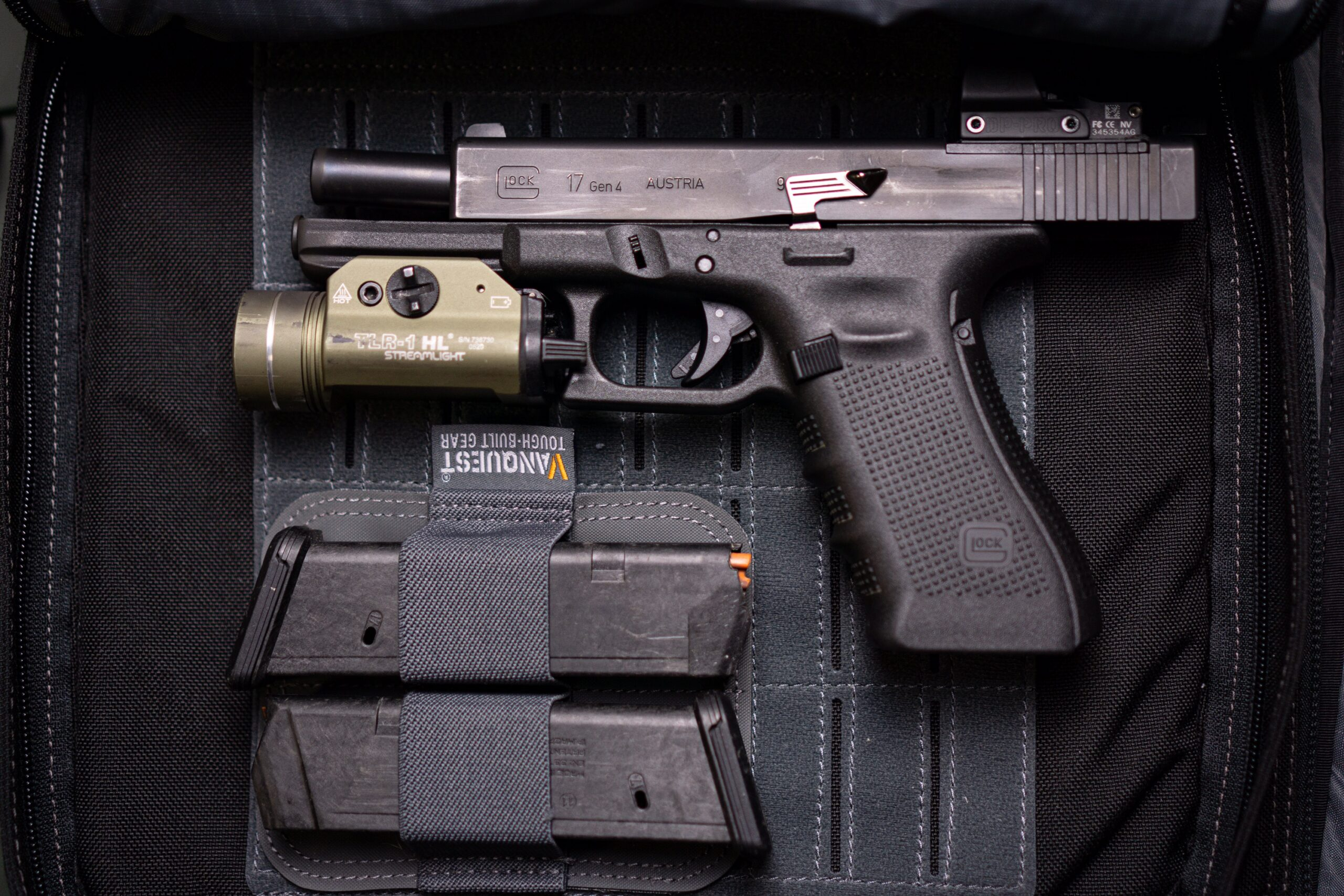 Glock 17 Gen-4 in a pistol bag with spare magazines