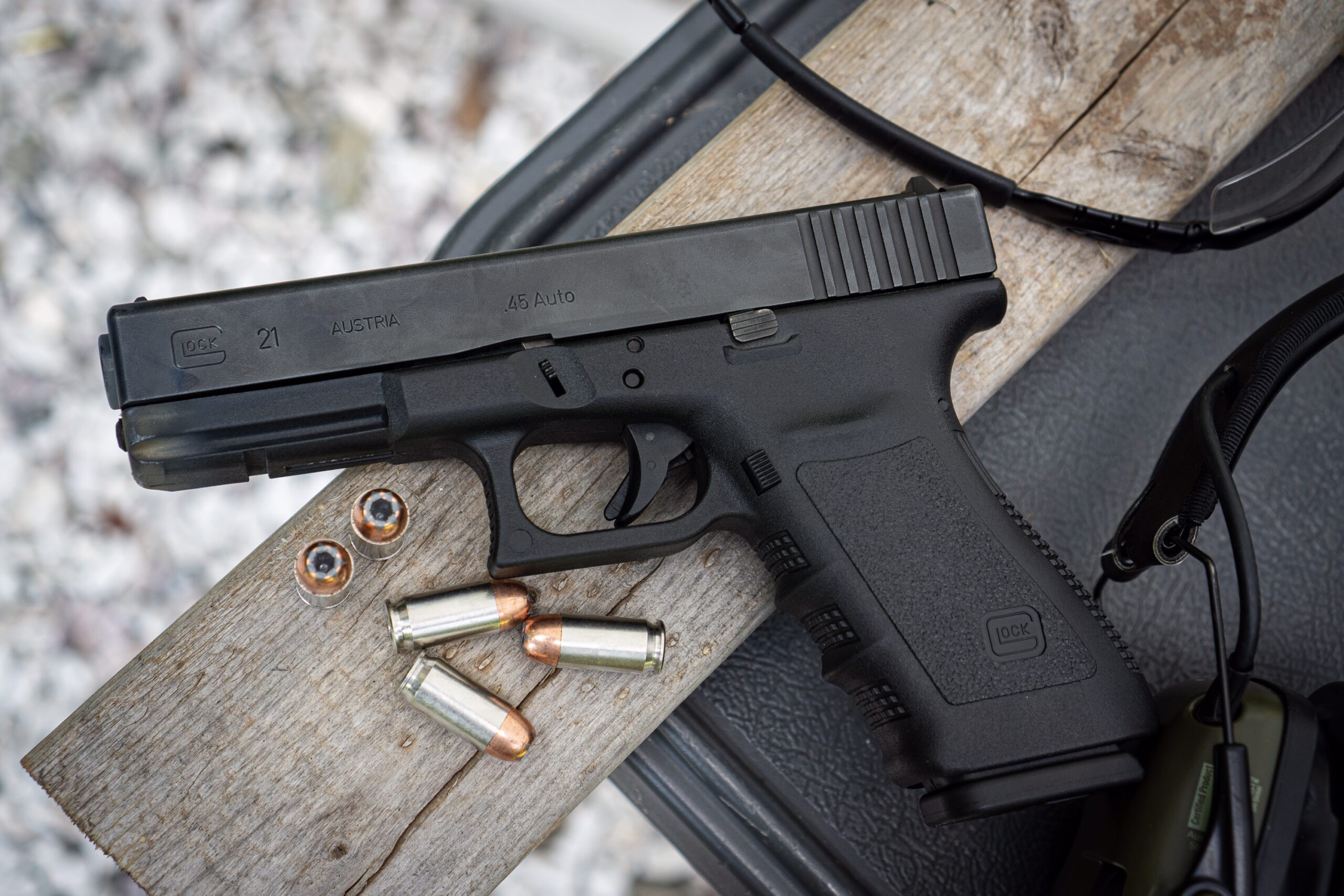 Glock 21 At The Shooting Range with ammunition