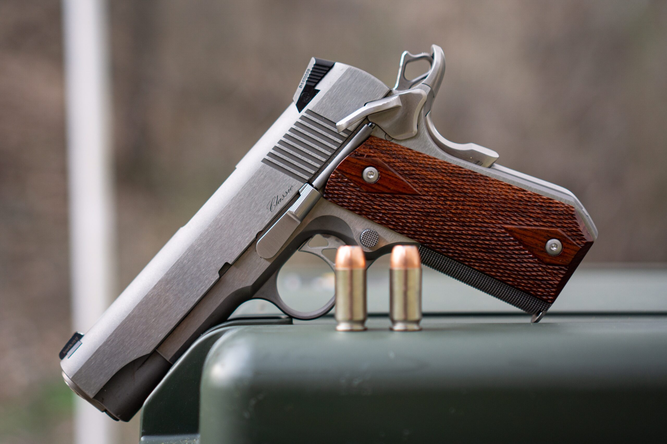 Dan Wesson 1911 pistol displayed