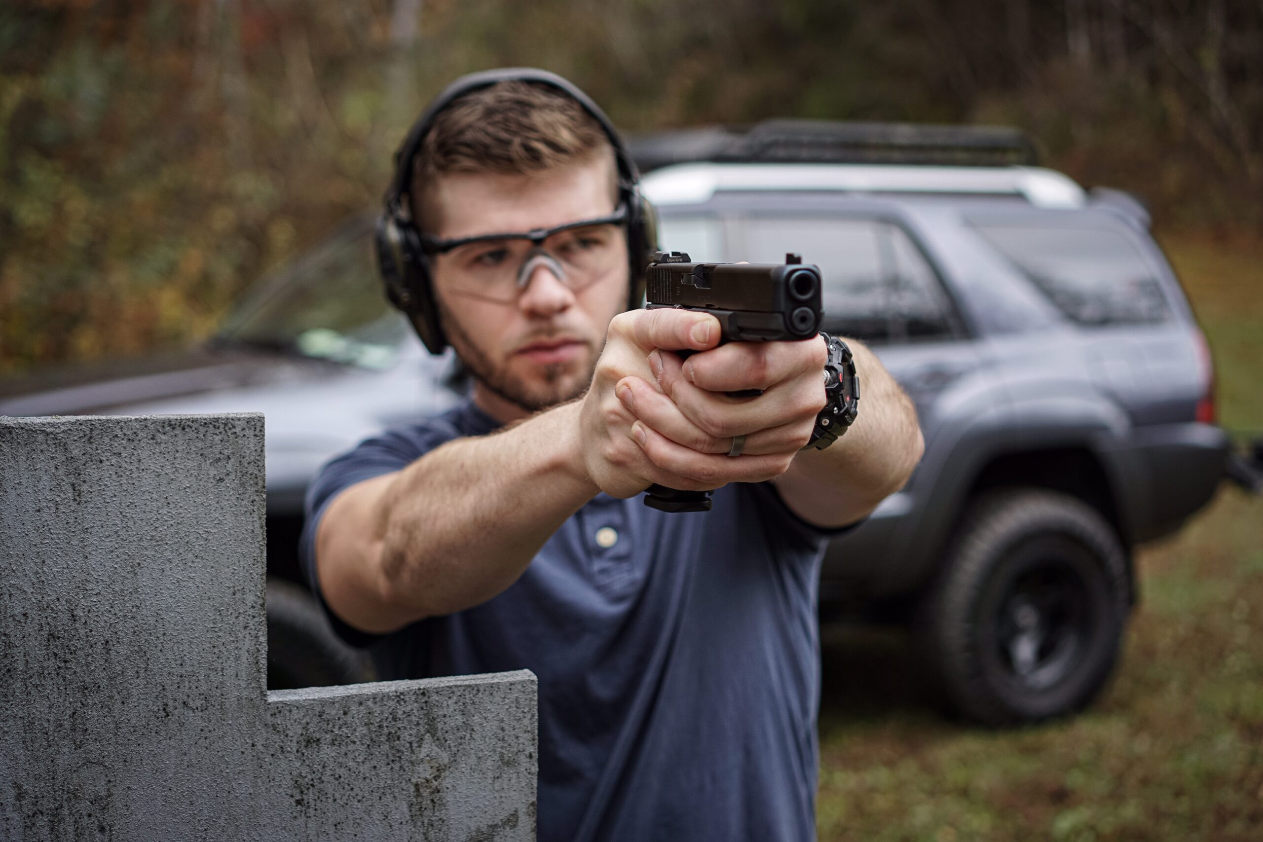 Author With Glock 17 Gen-5 at a shooting range