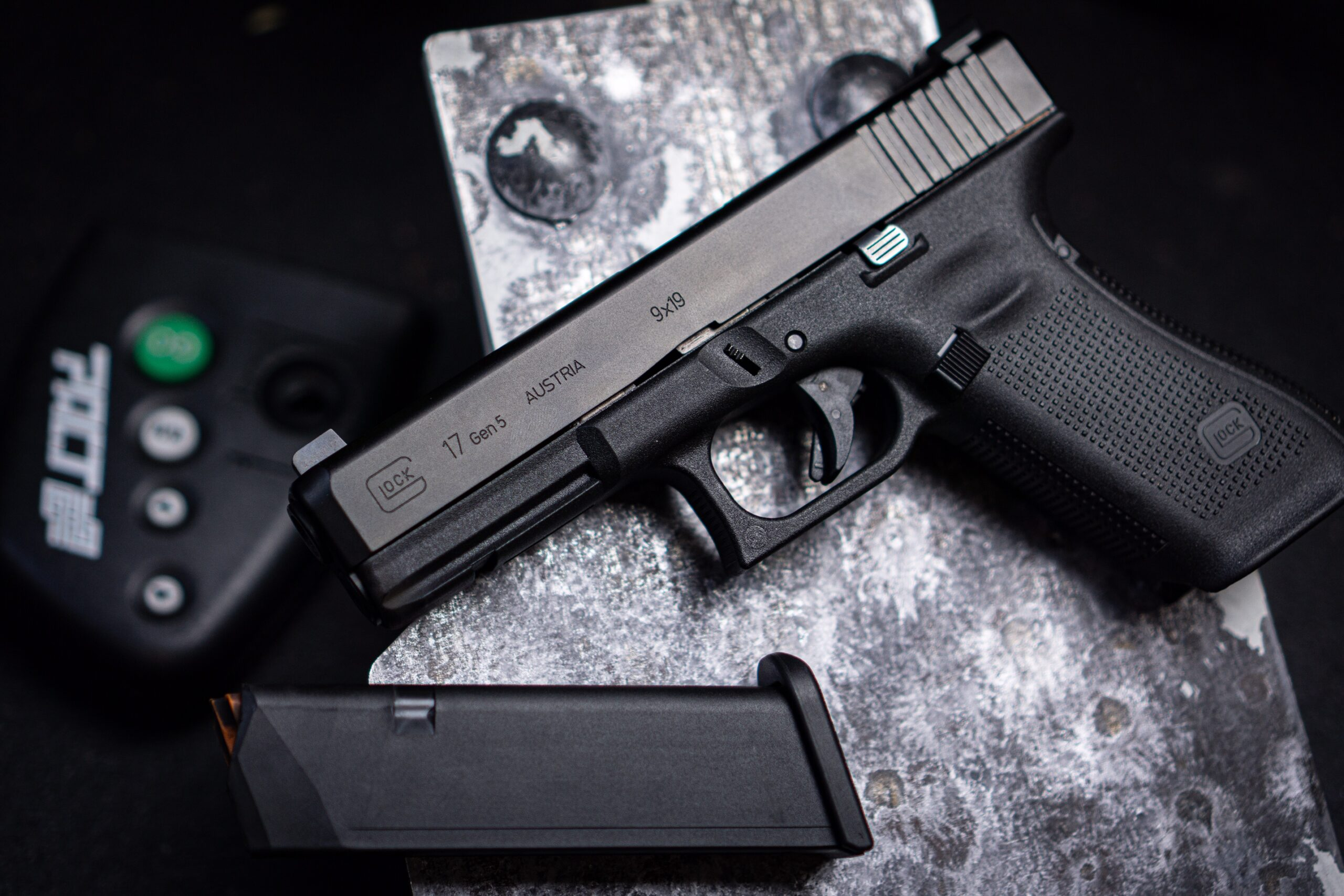 Glock 17 Gen-5 Displayed with shot timer and magazine