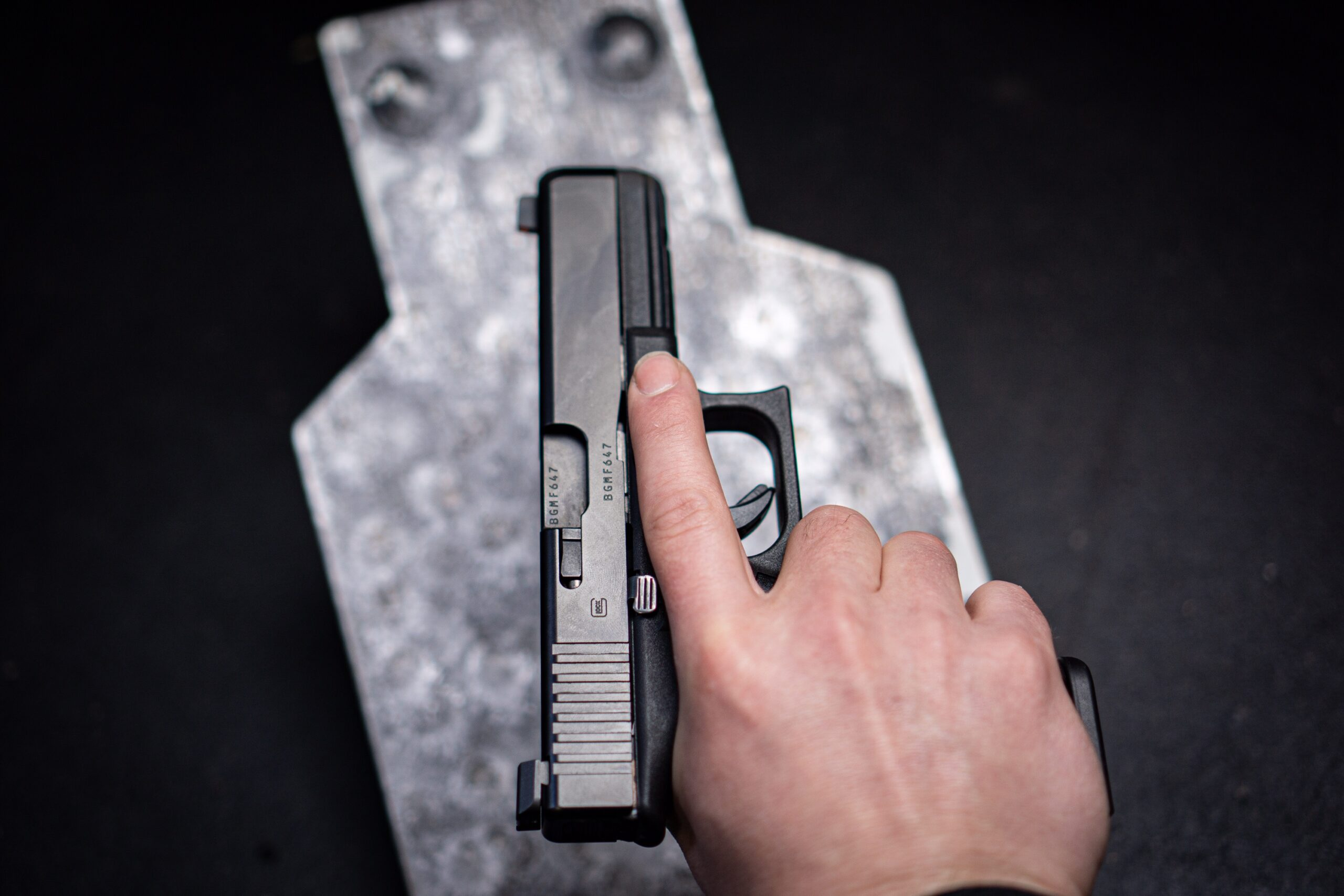The author holding a Glock 17