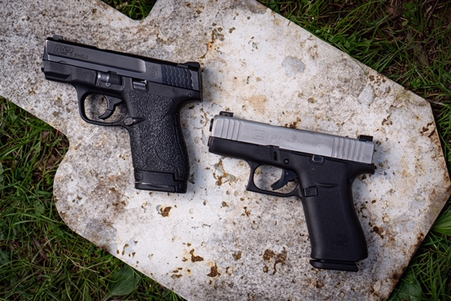 Glock 43X Next To A S&W Shield