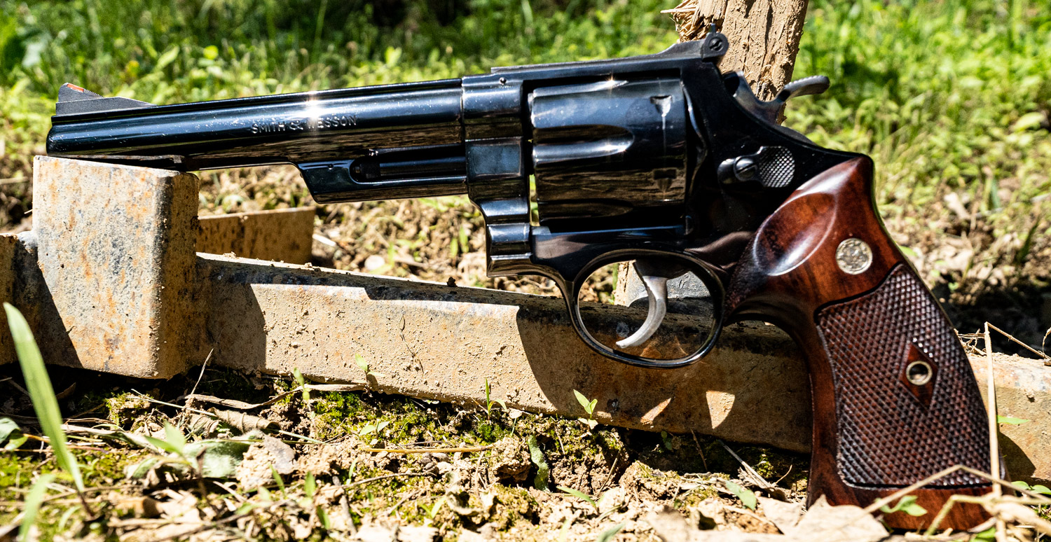 Dirty Harry 44 Magnum revolver displayed at a shooting range