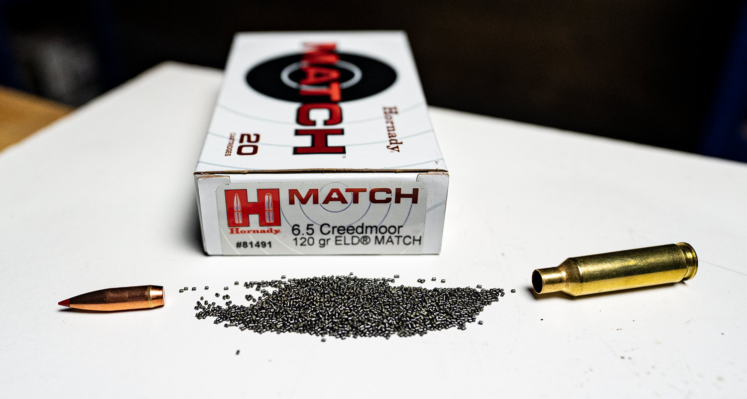 A round of Hornady ELD ammo dissected