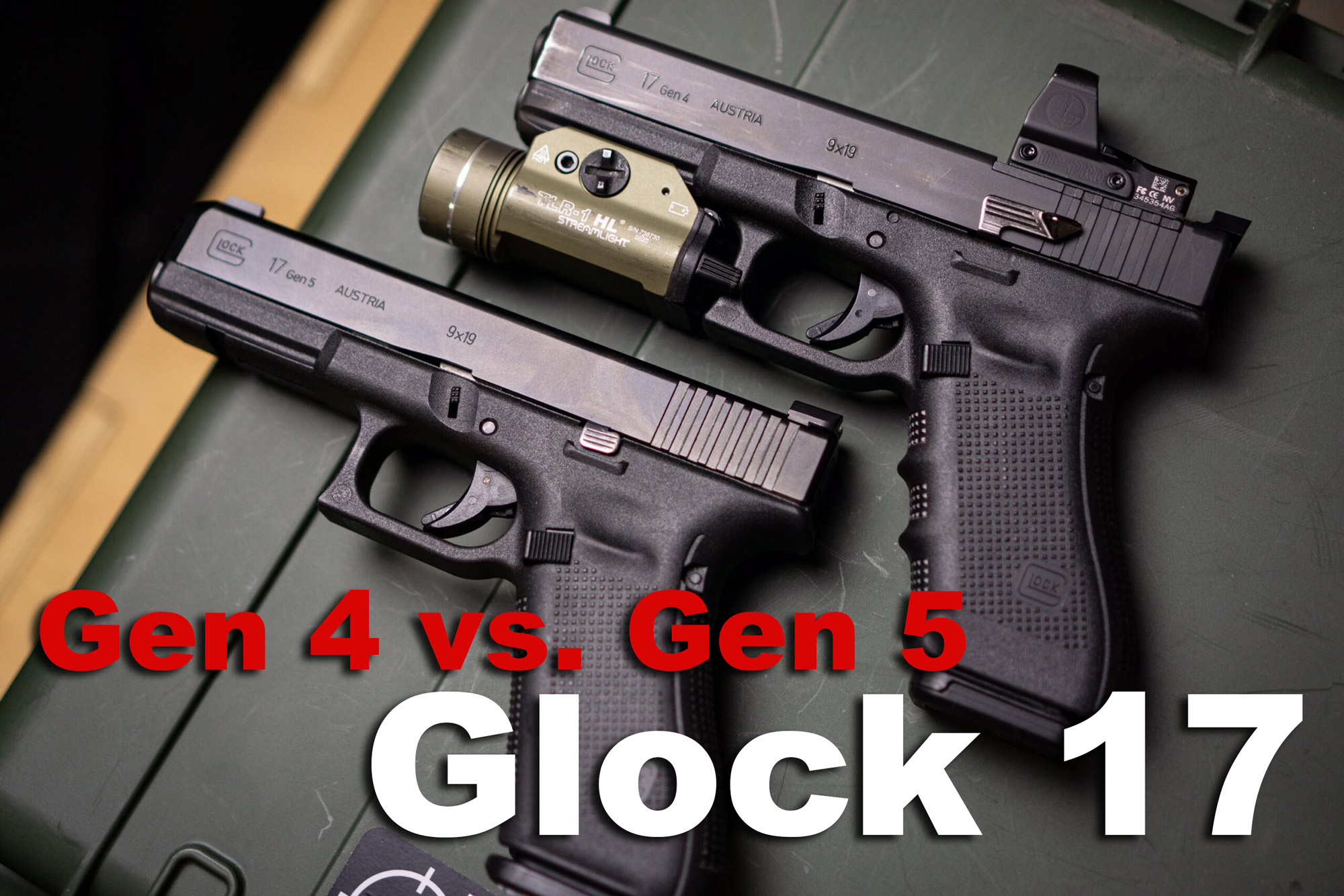 Glock 17 Gen 4 vs Gen 5 pistols side by side
