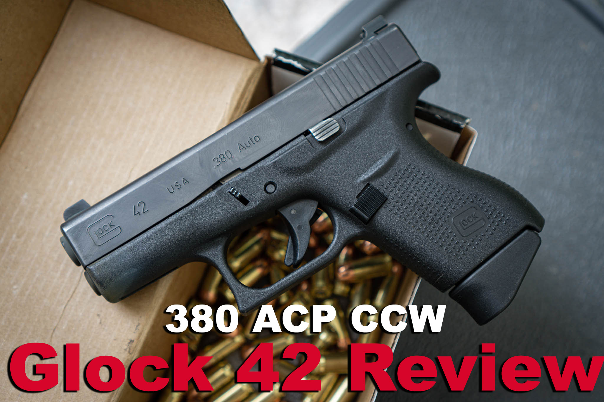 Glock 42 review pistol with box of ammo