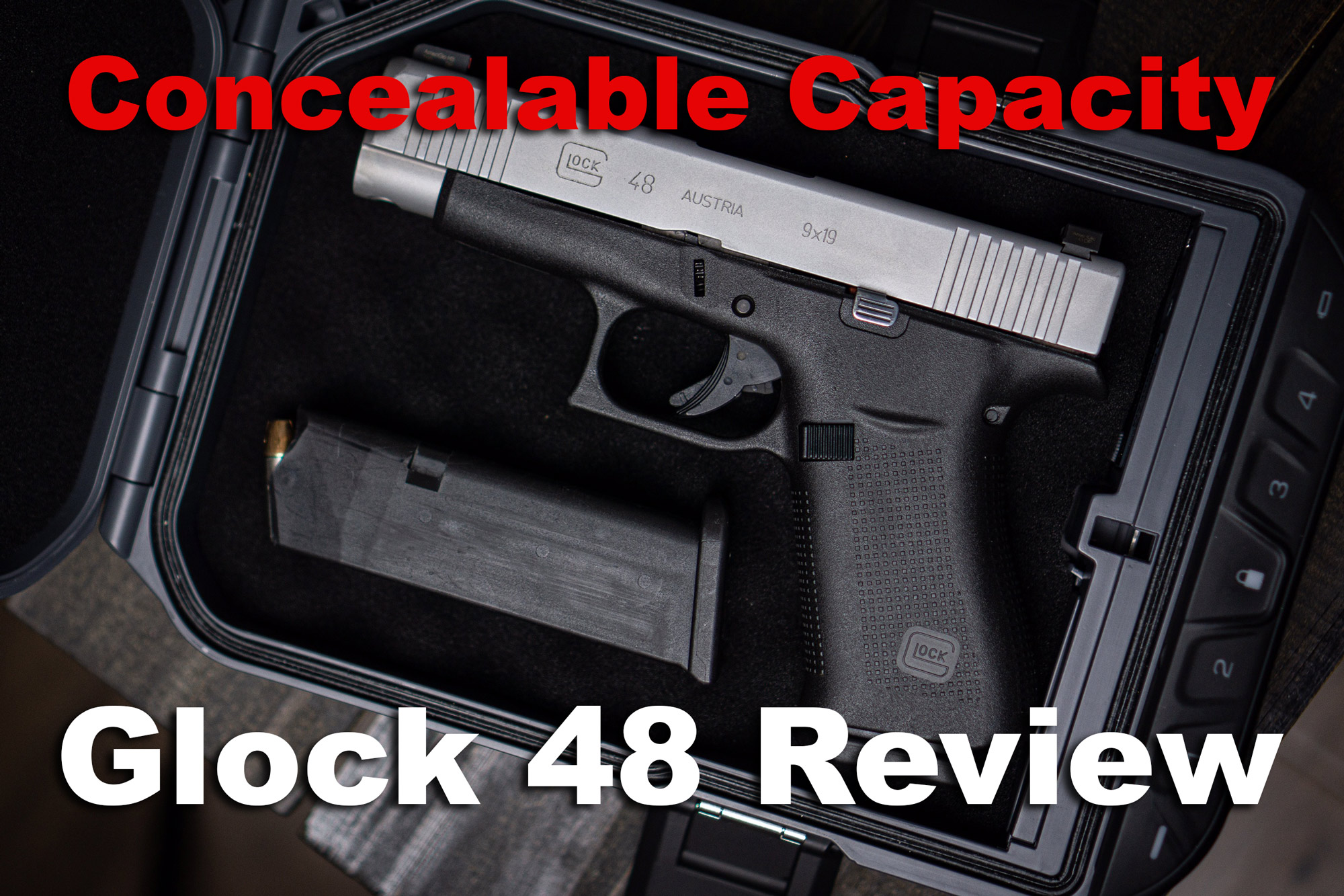 Glock 48 pistol with magazine in travel case used for a review
