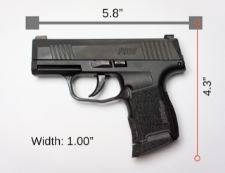 A graphic showing the dimensions of the Sig Sauer P365 pistol