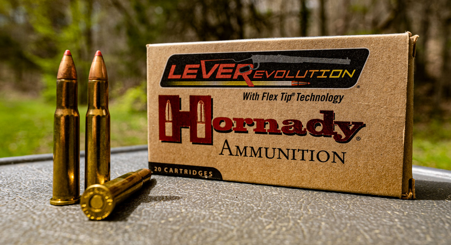Hornady LeveRevolution 30-30 ammunition with primer showing