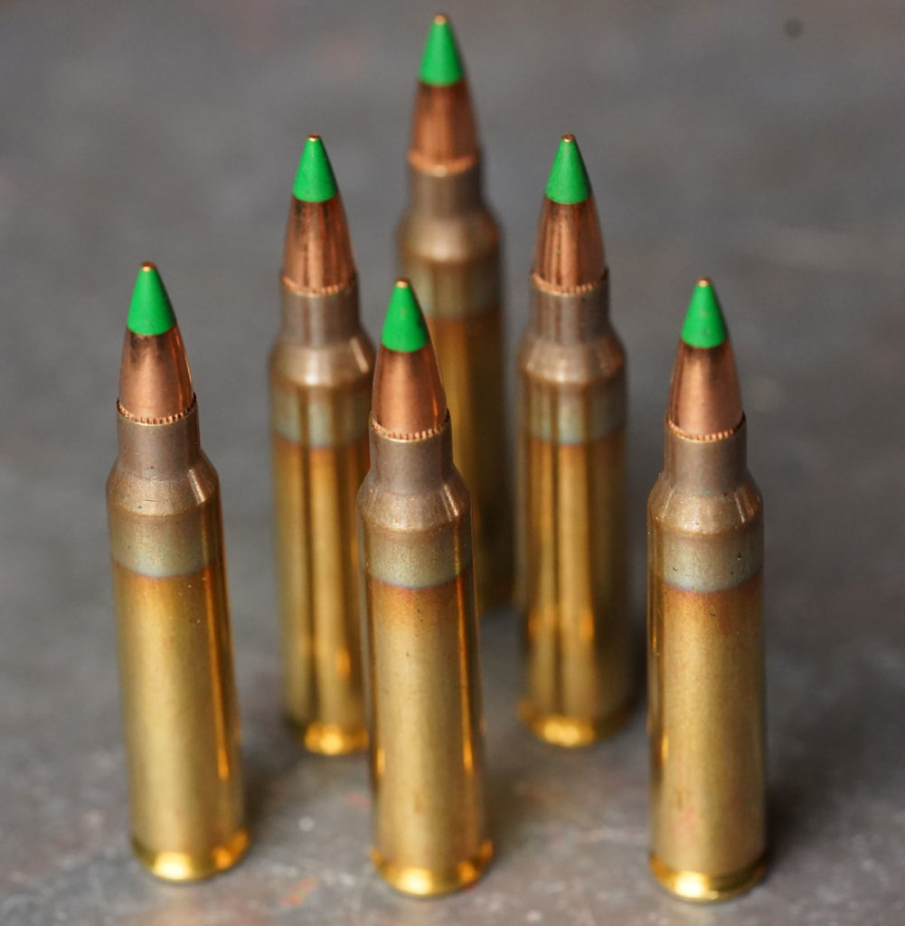 M855 green tipped ammo on a table