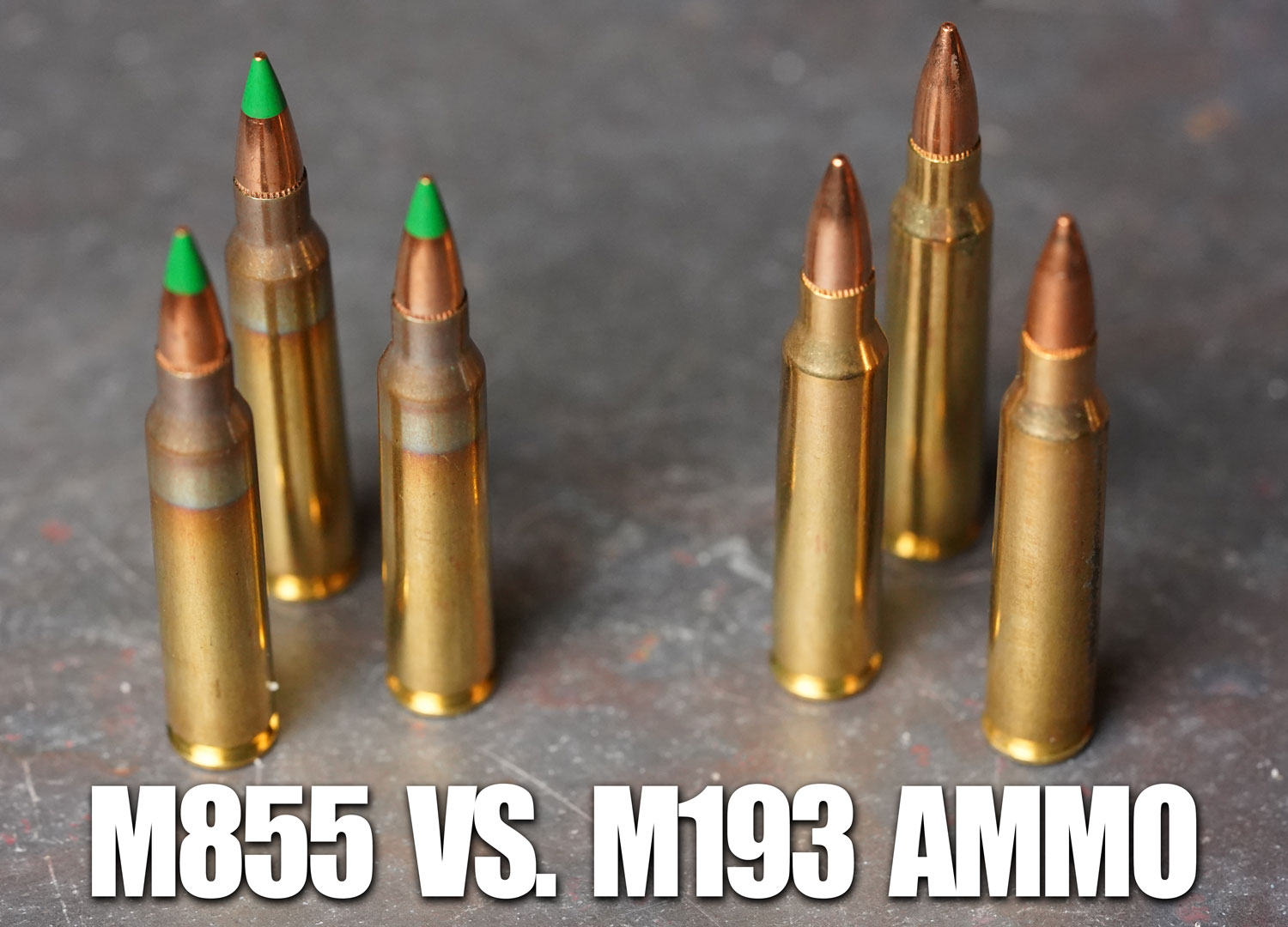 M855 vs M193 ammunition side by side on a table