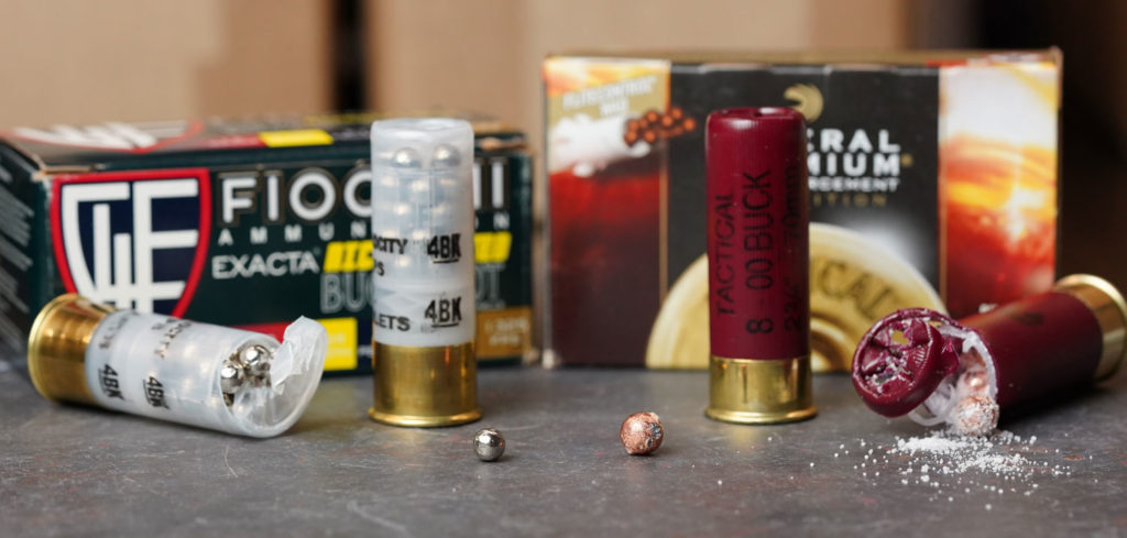 A comparison of the size of No. 4 buckshot vs. 00 buckshot