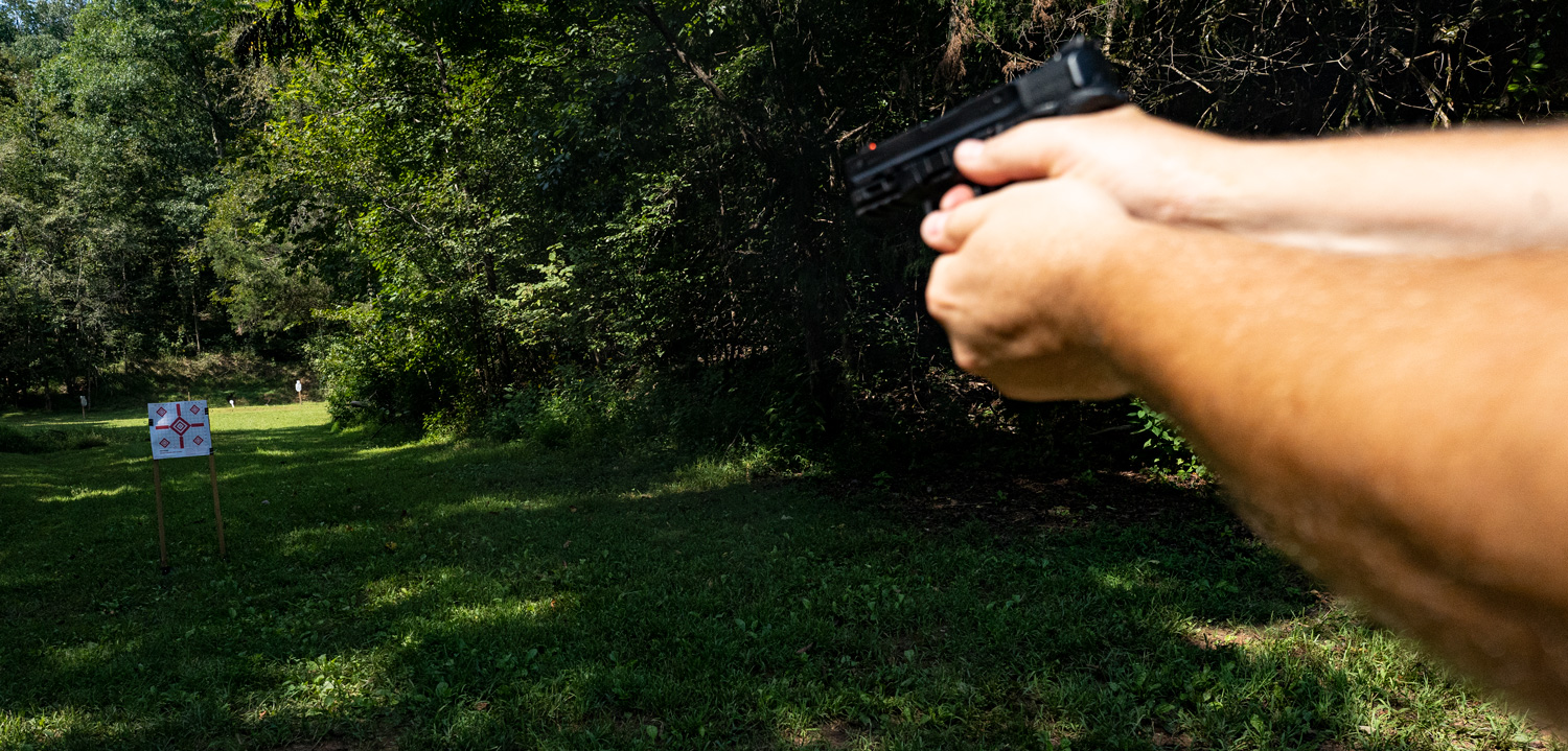 Shooting a smith & Wesson 380 EZ pistol at the range