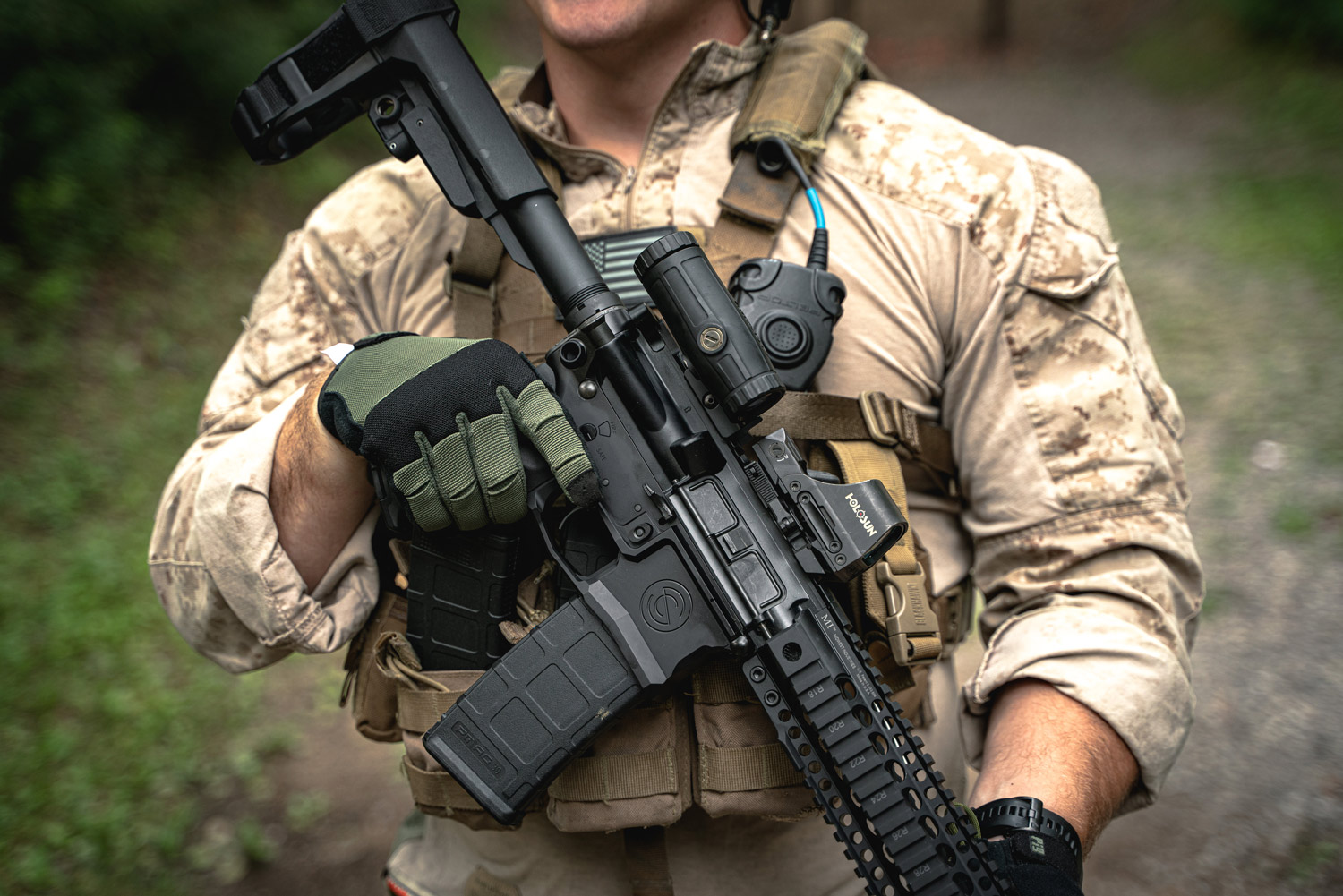 Soldier with AR-15 and ammo