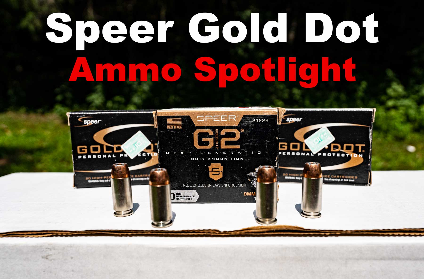 Speer Gold Dot ammo displayed at the range