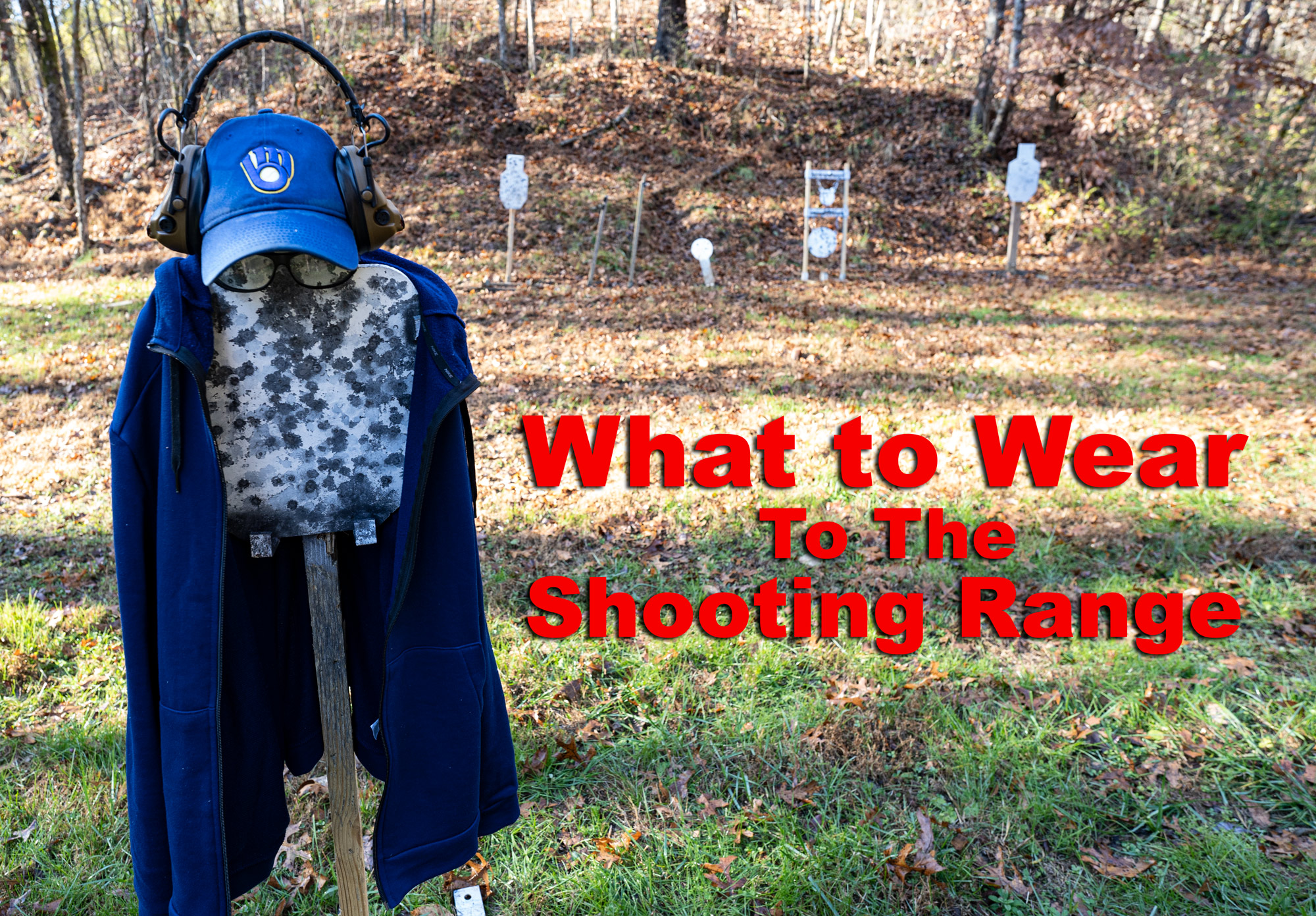 long sleeves, hat and other shooting range clothing at a range