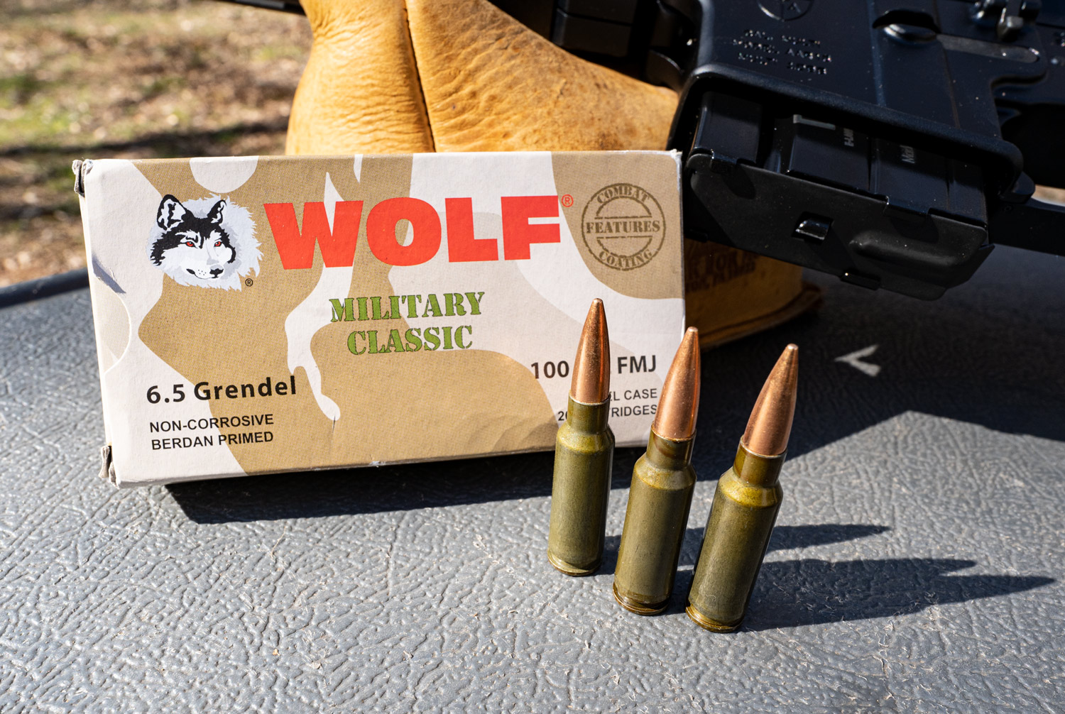 Wolf 6.5 Grendel ammo at a shooting range