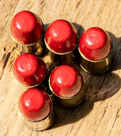 polymer coated bullets displayed