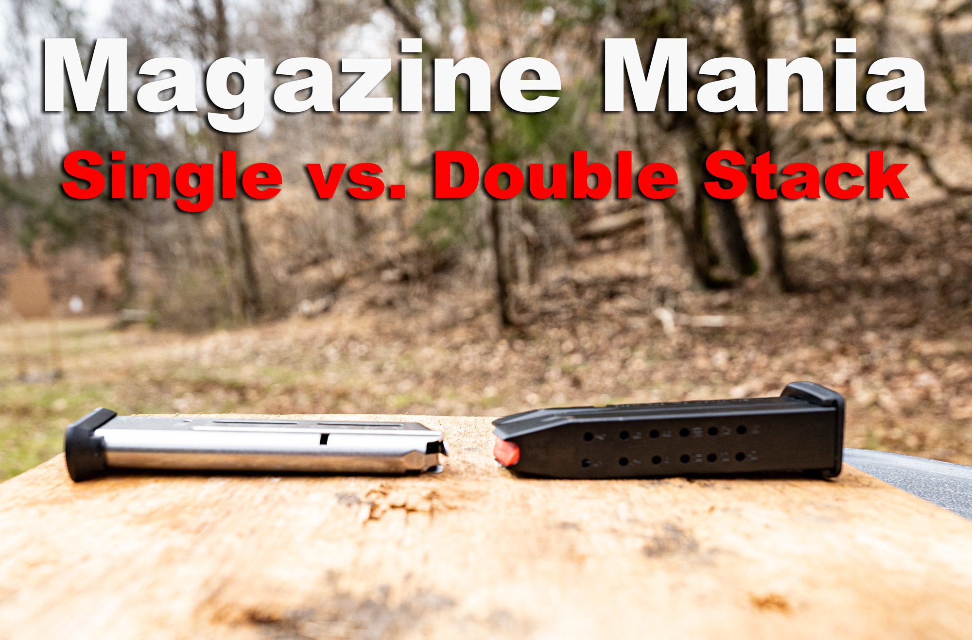 A single stack vs double stack gun magazine on a shooting bench